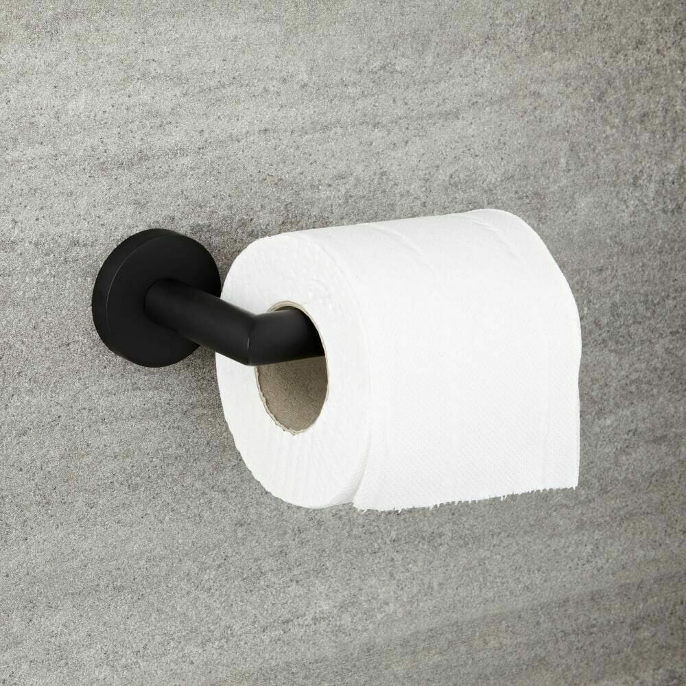 Milano Nero black modern toilet roll holder