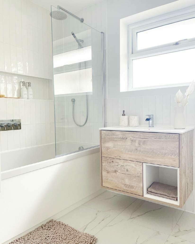 vanity unit and shower over the bath